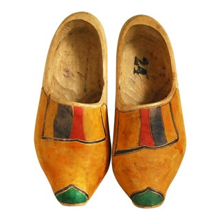 Vintage Dutch Hand Carved Wooden Shoes