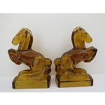 Image of Amber Glass Horse Bookends - Pair