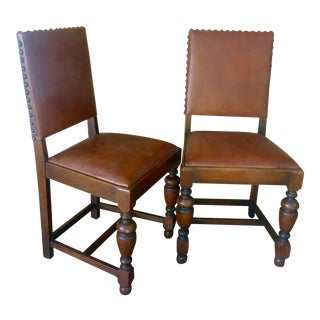 Antique French Oak and Leather Chairs - Pair