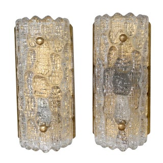 Carl Fagerlund for Orrefors Mid-Century Glass Wall Sconces - A Pair