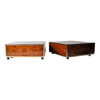 Art Deco Burl Wood and Brass Cube Coffee Tables