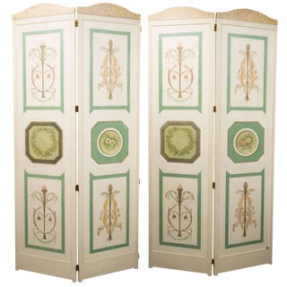 Hand-Painted Custom Adams Style, Four-Panel Screen