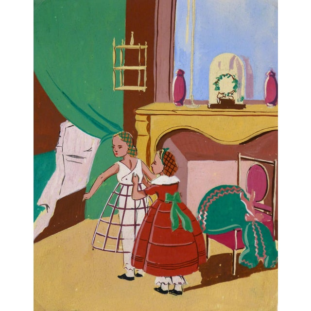 """Mid-Century French """"In the Boudoir"""" Painting - Image 1 of 3"""