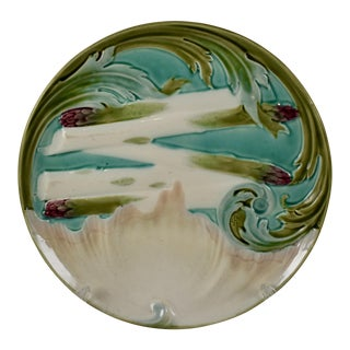 Luneville French Faïence Majolica Asparagus Plate