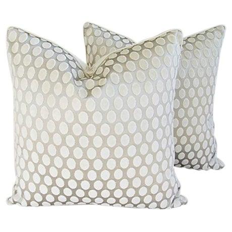 Designer Platinum/White Velvet Dot Pillows - Pair - Image 1 of 8