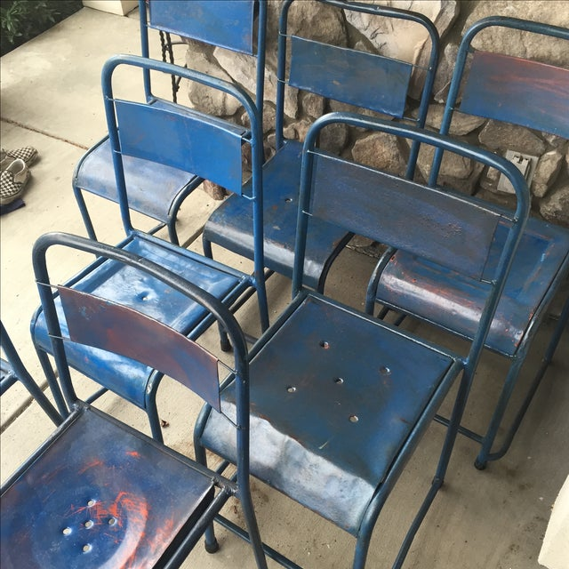 Vintage Bali Metal Garden Chairs - Set of 7 - Image 7 of 7