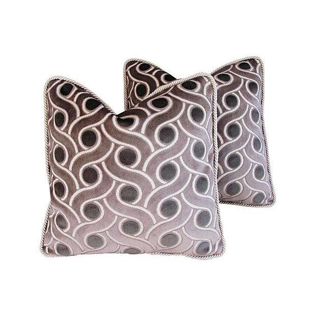 Custom Osborne & Little Cut Velvet Pillows - Pair - Image 1 of 7