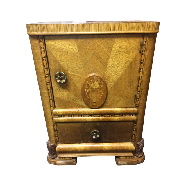 Antique Hand-Carved Inlay Nightstand - Image 1 of 6
