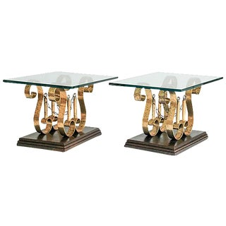 Gilded Iron Scroll Side Tables - A Pair