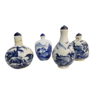Blue & White Landscape Snuff Bottles - Set of 4