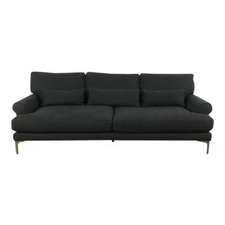 Charcoal Roll-Arm Sofa
