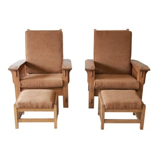 Solid Oak Mission Style Morris Chairs & Ottoman Set