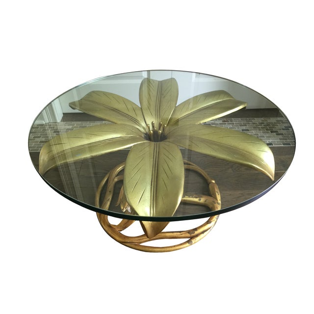 Arthur Court Vintage Gilt Lilly Base Coffee Table - Image 2 of 7