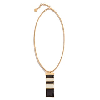 Trina Turk Black and Cream Enamel Pendant Necklace