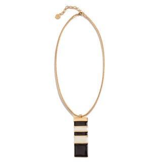 Trina Turk Black and Cream Enamel Pendant Necklace