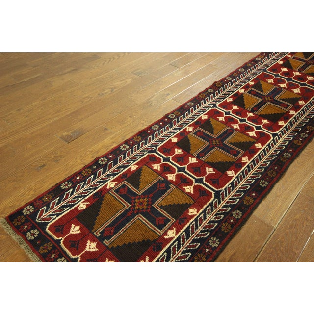 """Persian Baluch Red & Blue Rug - 2'7"""" x 9'10"""" - Image 5 of 7"""