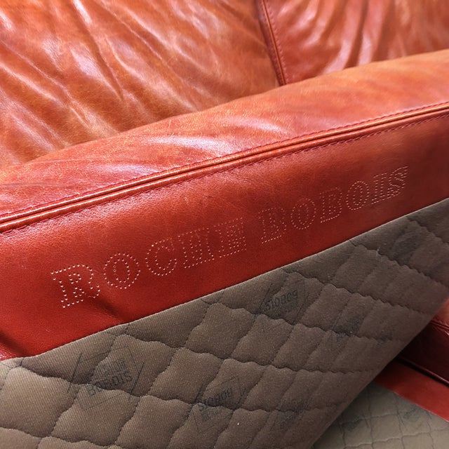 Roche Bobois Vintage Red Leather Sofa - Image 5 of 10