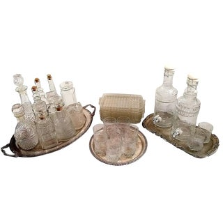 Vintage Glass Decanter & Beverage Dispensing Service Set- Set of 33