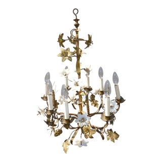 Vintage French Provincial Wheat Sheaf Gold Tole Porcelain Flowers Chandelier Hanging Light