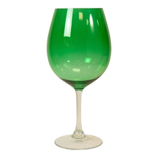 Massive Sculptural Green Wine Glass