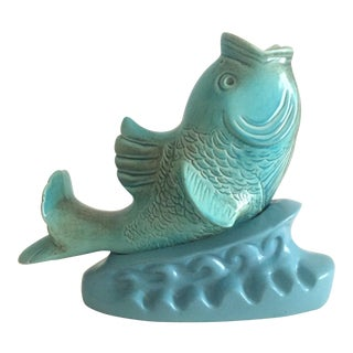 Vintage 1955 Mid-Century Modern Aqua Blue Ceramic Fish Sculpture