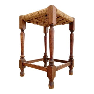 19th-C. Turned Wood & Rope Stool