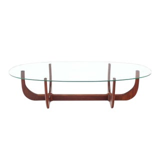 Midcentury Oval Glass Top Sculptured Walnut Base Coffee Table