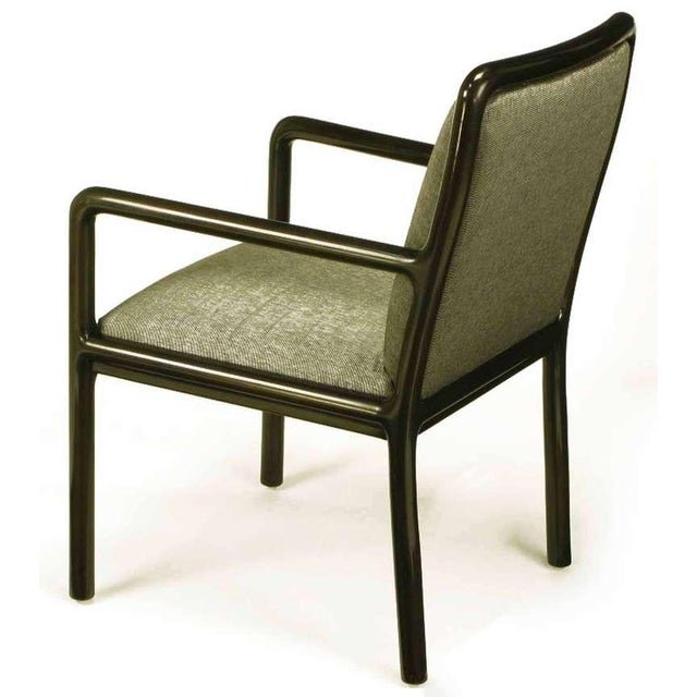 Image of Four Martin Brattrud Ebonized & Upholstered Arm Chairs.