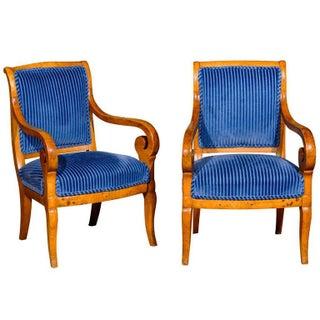 Biedermeier Fruitwood Armchairs - A Pair