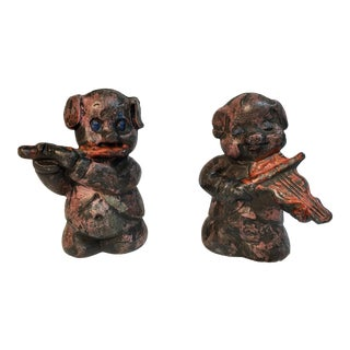 Antique Lead Pig Musician Toys - A Pair