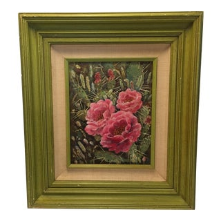 "Vintage Framed ""Red Prickly Pear"" Painting"