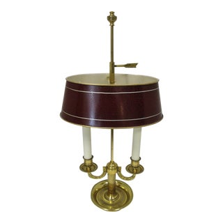 French Dore Bronze Bouillotte Lamp with Red Tole Shade