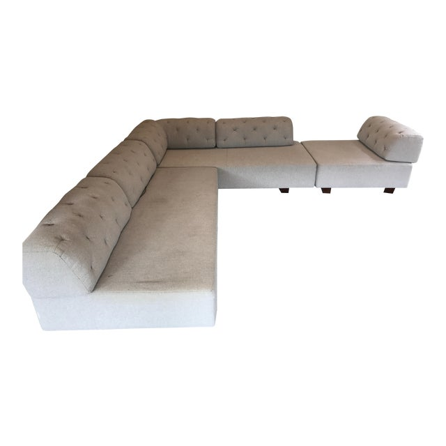 West Elm Tufted Gray Sectional - Image 1 of 5