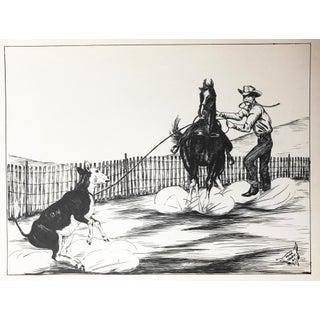 Western Calf Roping Pen Drawing by Keoke
