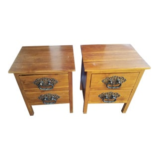 Mid-Century Oak Nightstands - A Pair