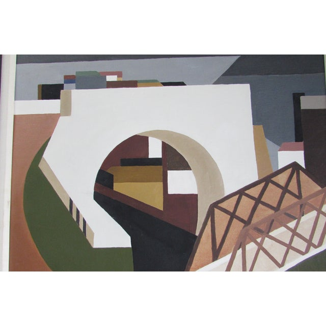 Architectural Mid-Century Painting - Image 4 of 4