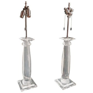 Karl Springer Lucite Column Table Lamps - A Pair
