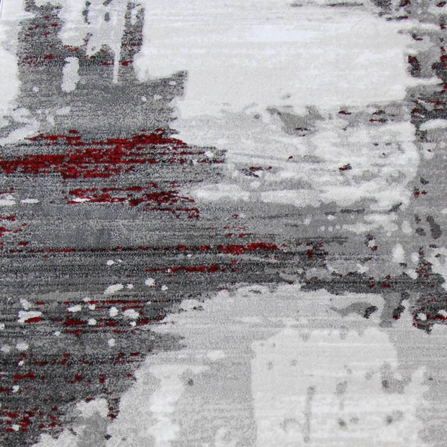 "Contemporary Gray & Red Abstract Rug - 6'7"" x 9'7"" - Image 3 of 8"