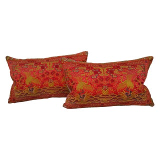 Embroidered Chinese Silk Pillow - Pair