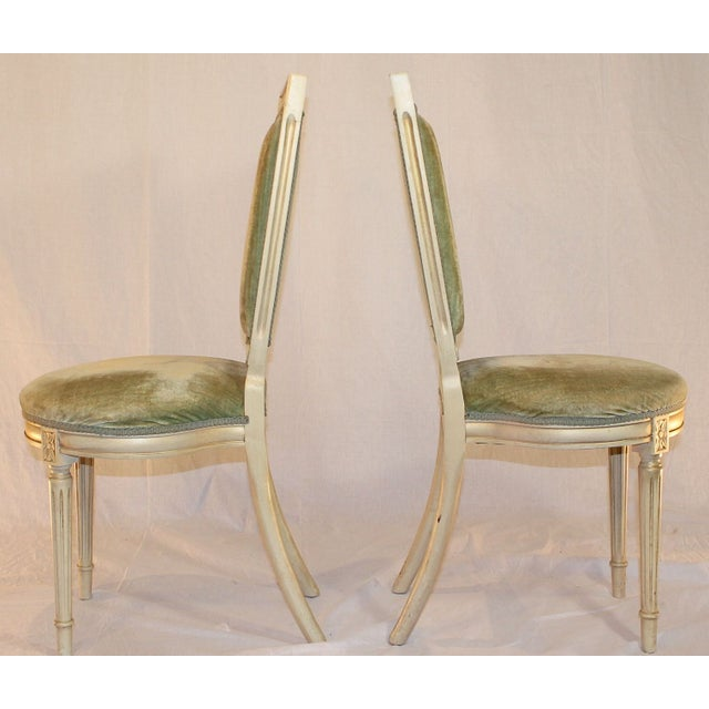 Louis Style Velvet Accent Chairs - A Pair - Image 3 of 4