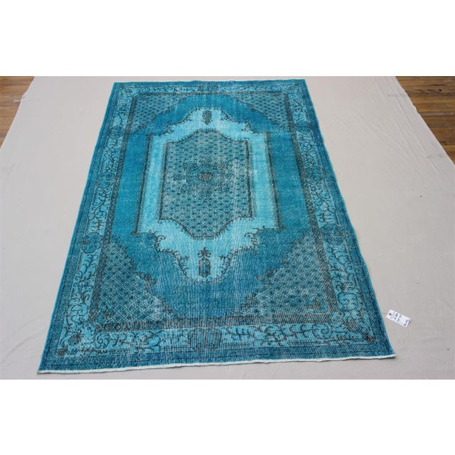Turkish Over-Dyed Turquoise Rug - 5′5″ × 9′3″ - Image 10 of 11