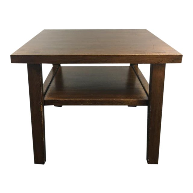 Vintage two tier wood laminate end table chairish for Table 52 prices