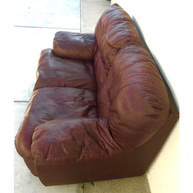 Klaussner Overstuffed Bonded Leather Loveseat - Image 7 of 10