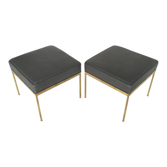 Lawson-Fenning Square Brass and Black Leather Ottomans - a Pair - Image 1 of 8