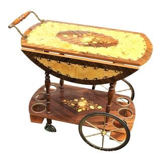 Vintage Mahogany Wood Inlay Italian Bar / Tea Cart