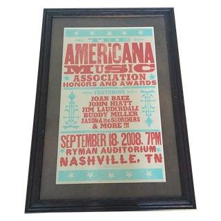 Nashville Music Poster in Wooden Frame