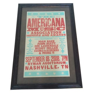 Nashville Music Poster in Wooden Frame