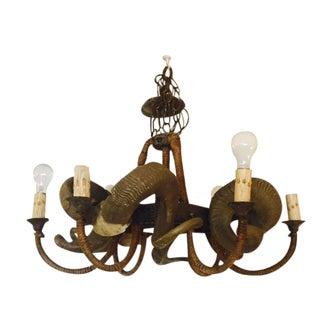 Rustic Bohemian Style Ram Horn Chandelier
