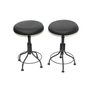 Round Leather Stools - A Pair