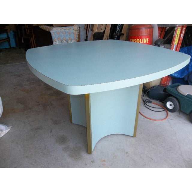 Mid-Century Modern Blue Formica Dining Table - Image 2 of 5